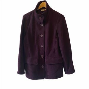 LL BEAN Petites 100% Wool Purple Jacket Coat M